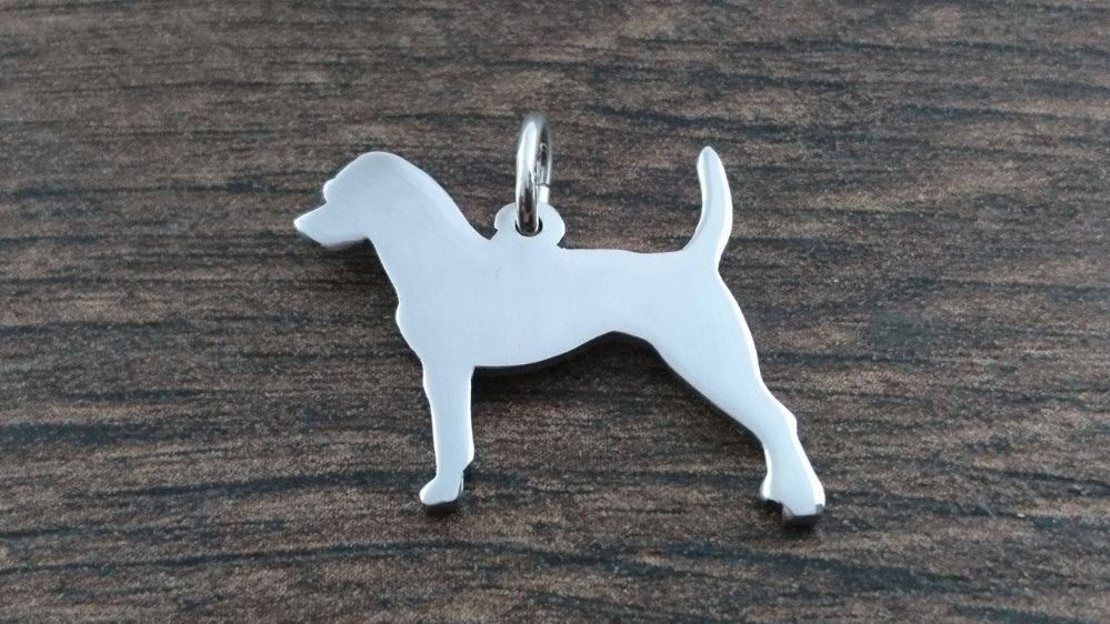 Parson Russell Charm silhouette solid sterling silver Handmade in the Uk